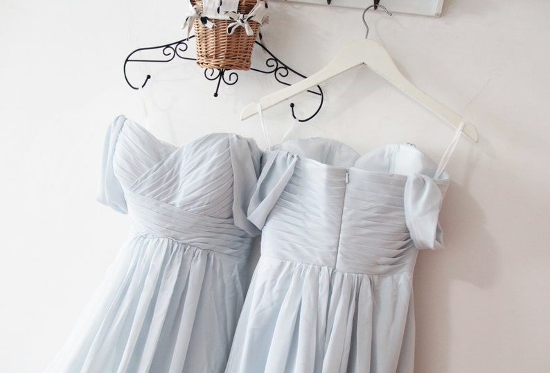 Off Shoulder Sweetheart Dusty Blue Long Chiffon Prom Dress Off Shoulder Evening Dress,Long Chiffon Bridesmaid Dress Prom