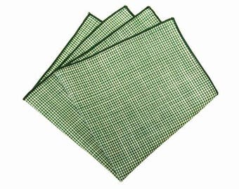 1fb09b2a2ae25 Green Gingham Pocket Squares.Mens Green Pocket Square.Green Hankderchief.12