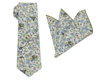 Sage Green and Blue Pattern Floral Tie.Mens Floral Tie,Wedding,Gifts.Prom.