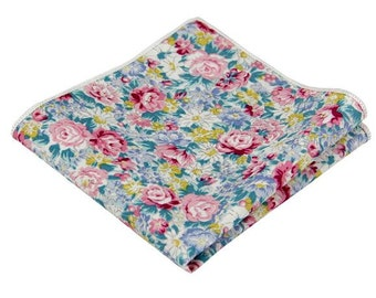 Turquoise and Rose Pink Floral Pocket Square.100% Cotton .Mens Handkerchief.Wedding.Prom.Gift