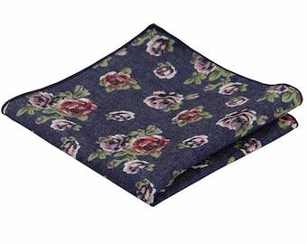 Denim Floral Pocket Square.Denim Handkerchief.100% Cotton.Wedding.Gifts.