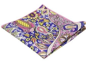 Paisley Pocket Square .Multi-COlor Print Hankies.Handkerchief .Novelty Hankies. 100% Cotton.Gifts.Wedding