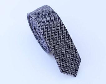 Blue Wool Tie.Blue Herringbone Wool Tie.Mens Blue Skinny Tie. Blue Tie for Wedding.Gift.Prom.Business.Party.Mens Gift