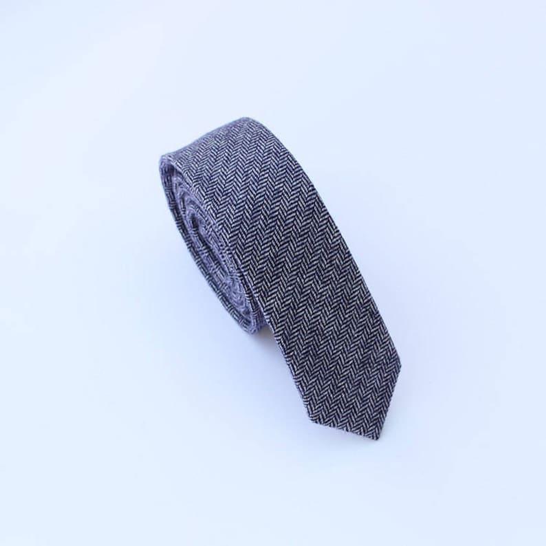 Blue Wool Tie.Blue Herringbone Wool Tie.Mens Blue Skinny Tie. image 0