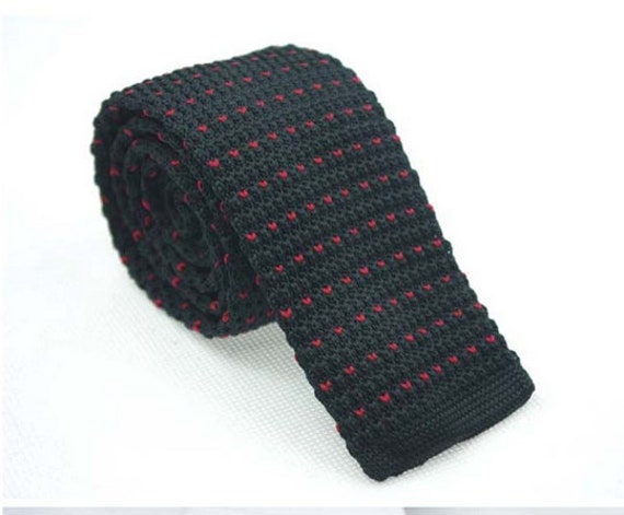 Black Knit Necktie With Mini Peach Patternsitted Ties For Etsy