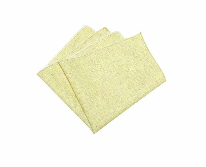 Lemon Yellow Wool Pocket Squares.Lemon Wedding Handkerchief.Wedding Favors.Gifts.