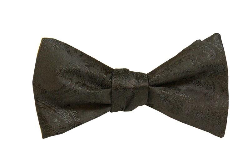 843ea0f9103d Black Self Tie Bowtie. Black Silk Paisley Bowtie. Black Bowtie   Etsy