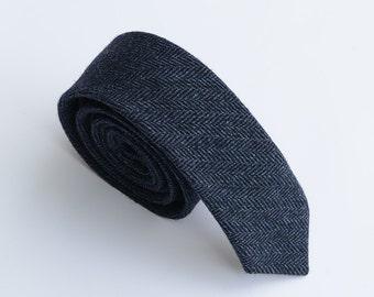 Navy Wool Tie, Navy Neckties for Men, Navy Herringbone Wool Necktie. Navy Blue Tweed Necktie for Groomsmen,Wedding, Rustic ,Classic Tie,