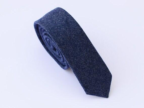 Solid Blue Neckties for Groomsmen Blue Skinny Ties for Men Blue Wool Ties Rustic. Groom Gift Blue Wedding Ties Dark Blue Skinny Tie