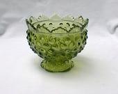 Fenton Glass Green Transparent Hobnail 3873 CG 4 quot Miniature Candle Bowl