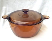 Pyrex Corning Amber Glass Quart 4.5 Liter Pot Kettle Dutch Oven Vision