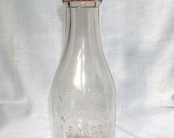 Ken's Dairy K. F. Yager 1 Quart Milk Bottle With Cap Eden New York