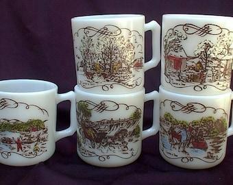 FIVE Hazel Atlas Currier And Ives Egg Nog Mugs Milk Glass Christmas