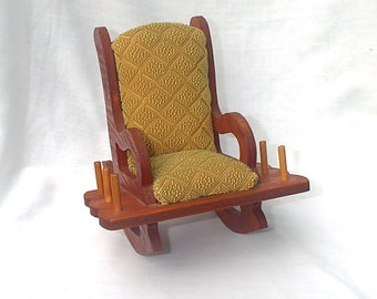 Vintage Miniature Rocking Chair Spool Holder Pin Cushion Sewing Notion
