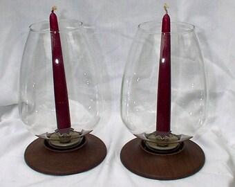 David Douglas Candlesticks Candle Holders Hurricane Lamps Pair Mid Century