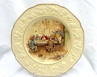 Crown Ducal Bar Scenes Stanmore Wall Plate Mr Pickwick Addresses The Club 1920s Antique