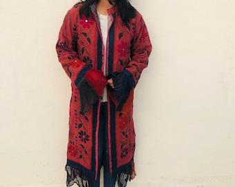 BohoHippie,Embroidered Handmade Coat,Blue color,recycled,Vintage,Banjara coat,Handwork,Unisex,Vintage Jacket,Gypsy
