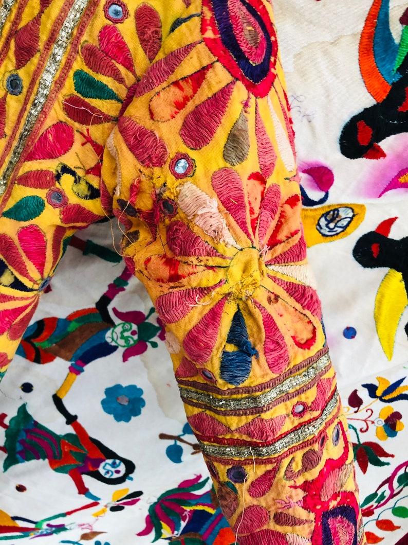 Banjara long jacket  embroidered coat  embellished coat  Yellow color   rainbow jacket  handmade  mirror  unisex  boho  hippie