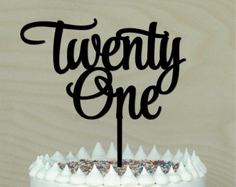 Twentyone Cake Topper 21st Birthday Decor Decoration Acrylic