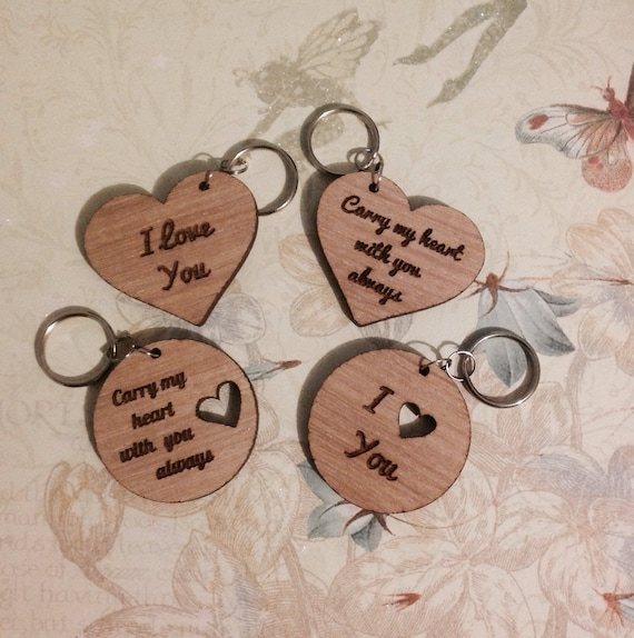 Rustic Wooden Keyring I Love You Personalised Laser Cut Love Heart Mothers Day Valentine Wedding One True Lovebespoken Gift