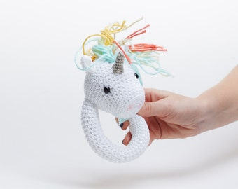 Crochet Rattle,Cute Rattle,Cotton Crochet Toy,Rattle Toy,Newborn Gift,Baby Toy,Baby Rattle,Animal Rattle,Clutch Toy,Newborn Unicorn Teether