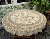 Country living hand crochet Round tablecloth, handmade floral table cover, lace table topper for home decor Color and Size Options