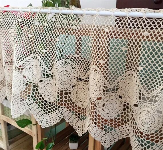 Landleben Stil Hand häkeln Kaffee Vorhang floraler Spitze | Etsy