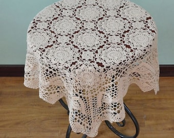 """Gorgeous crochet pattern 32"""" Square table cover, hand crochet square tablecloth , handmade nightstand cover table topper for home decor"""
