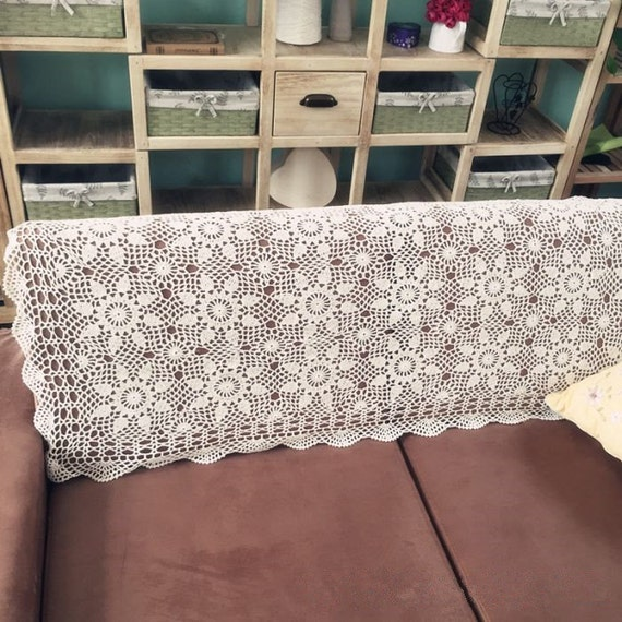 Swell Country Living Hand Crochet 24X47 Sofa Cover Floral Tablecloth Lace Table Cover Oblong Couch Cover For Home Decor Nice T For Mom Uwap Interior Chair Design Uwaporg