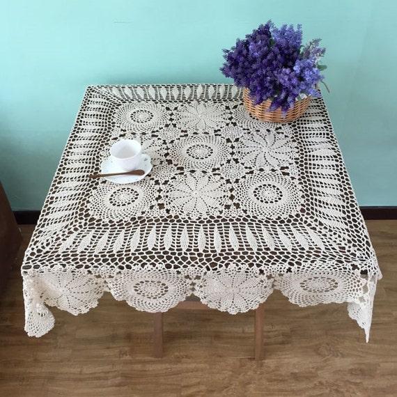Quadrat Tisch decken 100 % Handarbeit häkeln Tischdecke Hand | Etsy