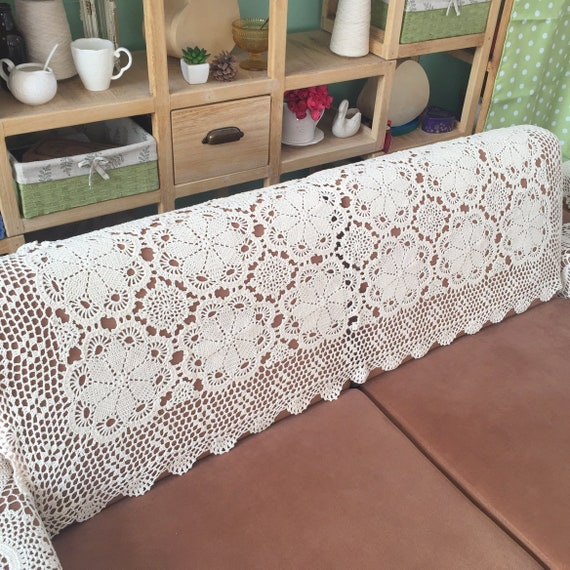 Terrific Country Living Hand Crochet Couch Cover Snow Flake Design Table Cover Handmade Floral Oblong Tablecloth For Home Decor Uwap Interior Chair Design Uwaporg