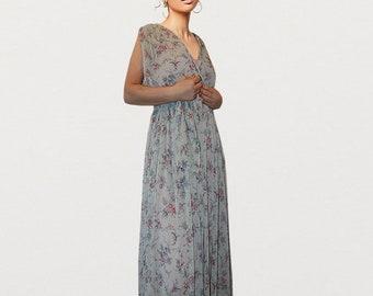 New, Floral-printed midi dress, Ultra-Feminine, Bohemian Style, Romantic Handmade to order, Spring 18,