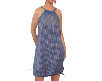 New, Allover plaid print,Dresses,  A-line silhouette, Handmade to order, Spring 18,