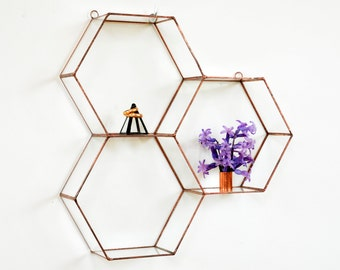 Hanging Glass Terrarium - Wall Geometric Planter - Stained Glass Terrarium - Honeycomb
