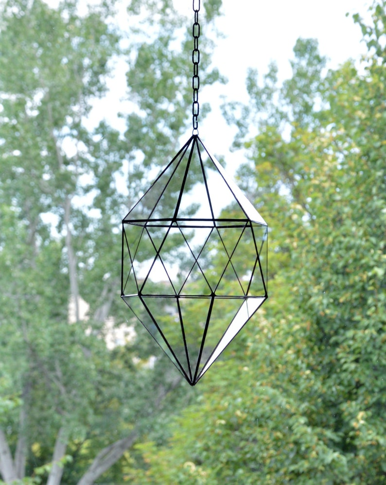 Stained Glass Terrarium Hanging Glass Terrarium Large Geometric Planter