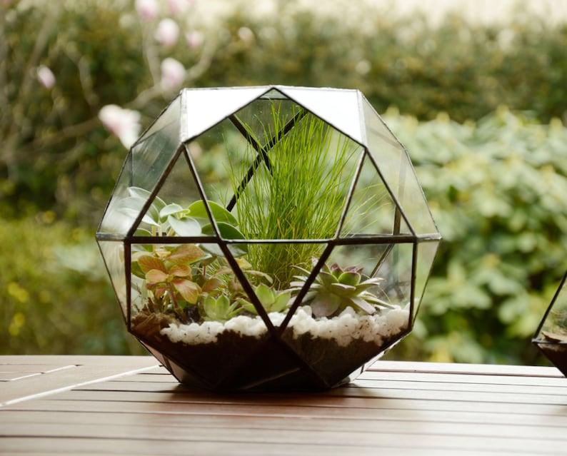 Large Glass Terrarium Glass Terrarium Geometric Terrarium Etsy