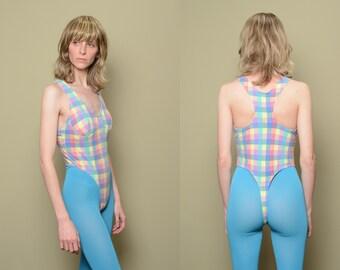 women vintage thong bodysuit LA Movers one piece leotard 80s 90s workout  wear aerobics GLOW pastel rainbow plaid check bodysuit S M 8c6304a0e
