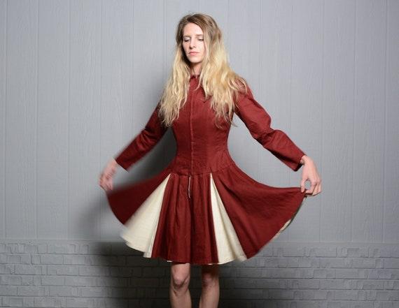 vintage 40s 50s circle skirt dress majorette chee… - image 1