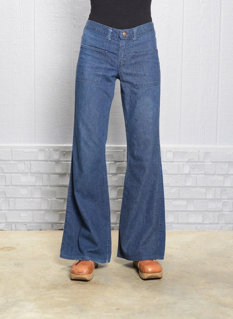 vintage 60s 70s jeans elephant bell bellbottom flare dark wash indigo denim S small front pocket navy sailor style