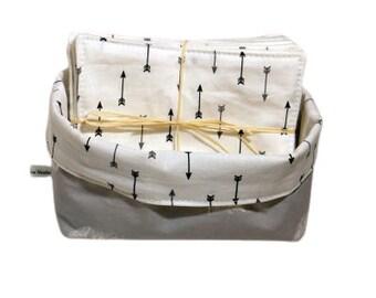 Lot of baby wipes - Washable washcloths - large-format wipes - Baby hemp wipes - Wipes with basket - Zero Waste