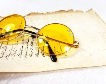 91196cf892 Round yellow clear glasses teashades Nerd Harry Potter John Lennon  teashades sunglasses Deadstock upcycled gems diamond geek fandom costume