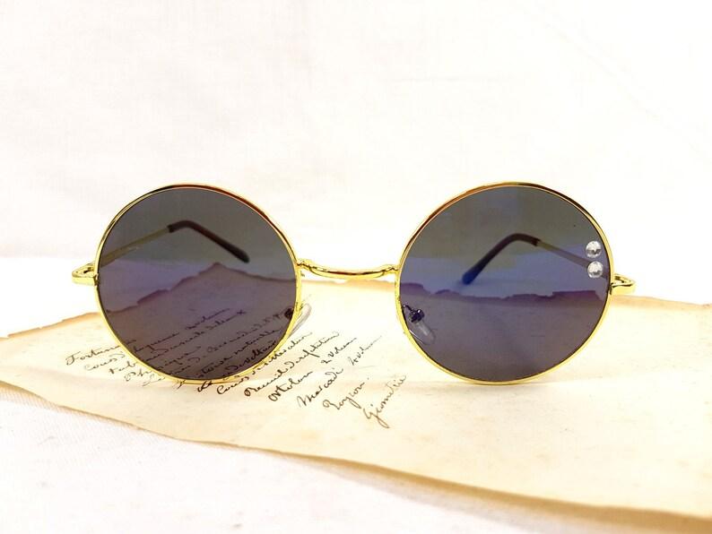 f1c6c1510a Large John Lennon blue mirror sunglasses gold frame upcycled