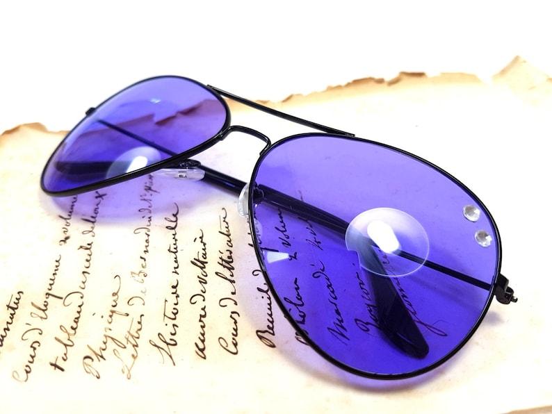 b1c4864f7b Upcycles Purple Black Aviator sunglasses wedding bachelorette