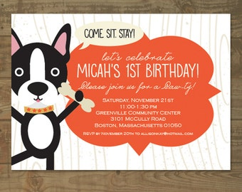 Boston Terrier Dog Themed Childs Birthday Party Invitation For Boy Or Girl