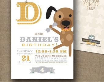 Childrens Birthday Invitation Dog Party Puppy Boy Or Girl