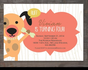 Dog Themed Childs Birthday Party Invitation Boy Or Girl Puppy Invite First 1st