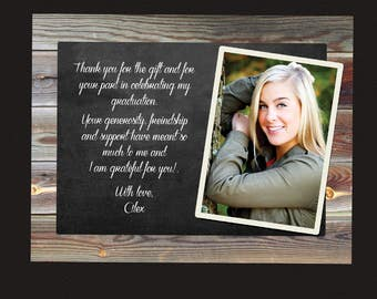 graduation thank you cards photo thank you postcard thank you chalkboard rustic thank you notecards digital or printed wood chalkboard note - Graduation Thank You Cards