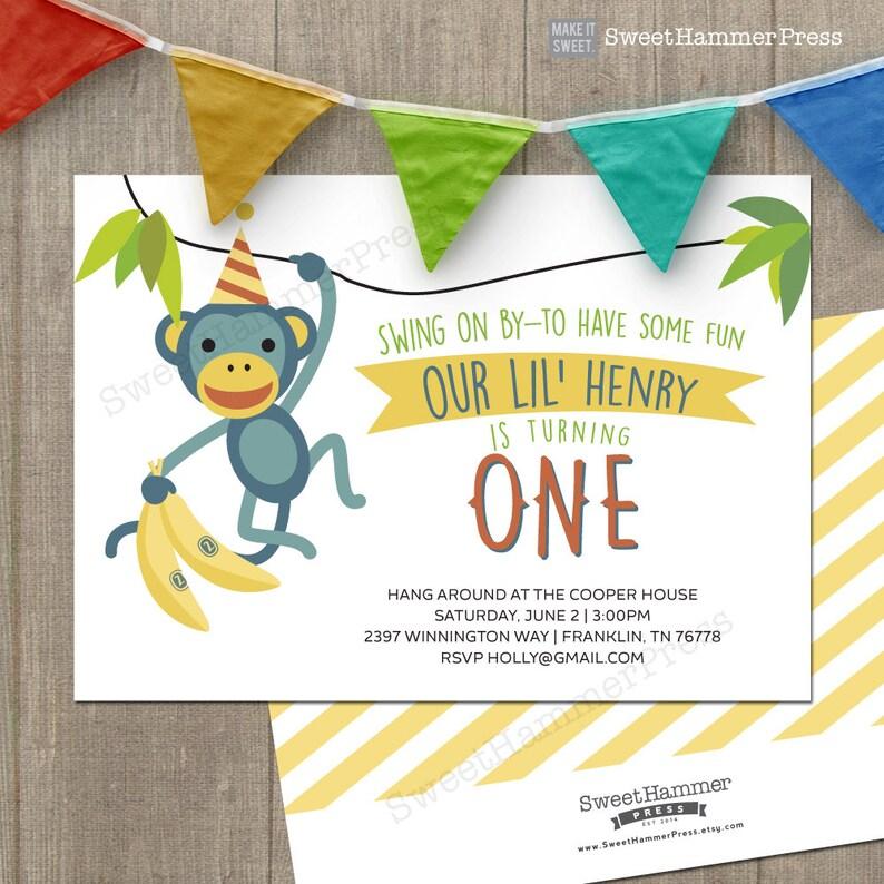 Monkey Birthday Party Invitation Printable Invitations First M