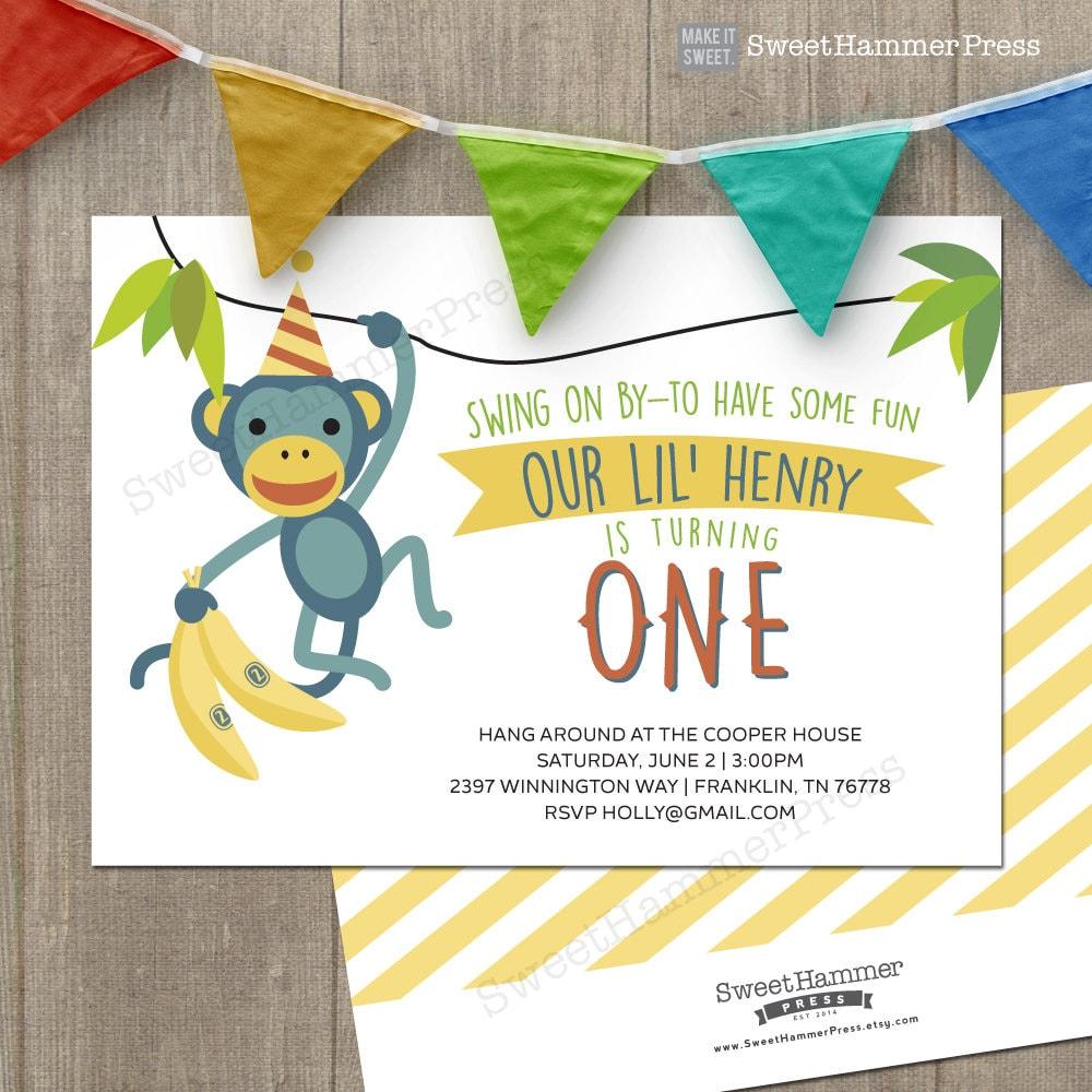 Monkey Birthday Party Invitation Printable