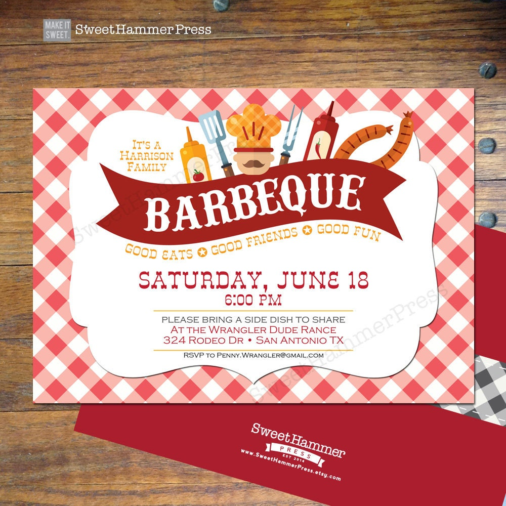 BBQ Party Invitation Barbecue Summer Party Invite Family | Etsy